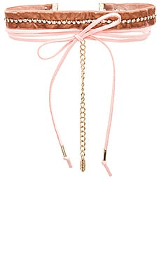 Velvet & Leather Wrap Choker in Pink