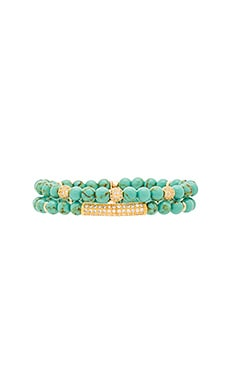 Ettika Beaded Bracelet in Gold & Turquoise