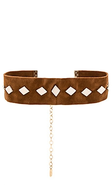Diamond Suede Choker in Camel & Gold