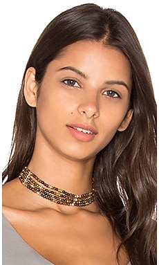 Layered Beaded Choker en Marron & Doré