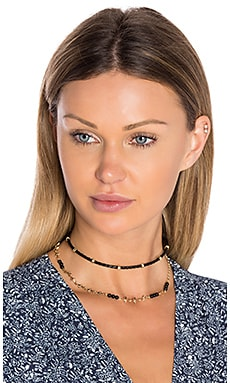 Ettika Rope Beaded Layered Choker in Black & Gold