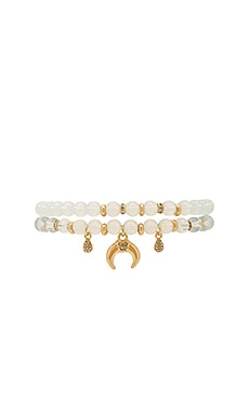 Beaded Bracelet Set in White