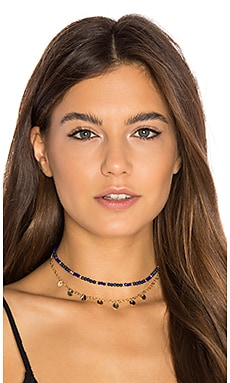 Disc Fringe Choker in Lapis Blue