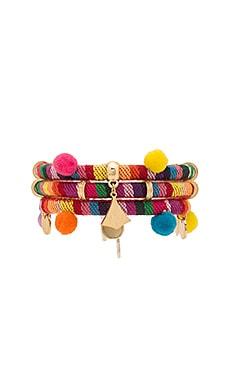 Dahl Multi Pom Pom Bracelet in Rainbow