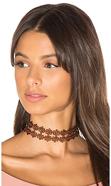 Leather Daisy Choker en Marron