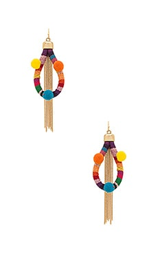Dahl Multi Pom Pom Earrings in Rainbow