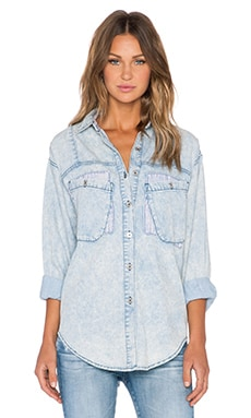 Evil Twin History Repeats Button Up in Light Denim