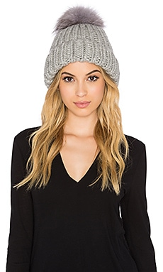 Eugenia Kim Rain Arctic Fox Fur Beanie in Light Grey
