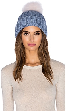Eugenia Kim Arctic Fox Fur Rain Beanie in Heather Blue & Pale Pink
