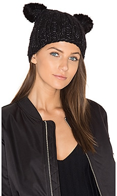 Felix Beanie with Mink Fur Ears in Black