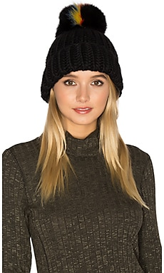 Rain Beanie With Fox Fur Pompom in Black