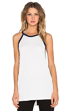 Whitney Eve Loess Tank in White & Navy