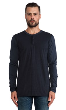 EVER L/S Contrast Henley in Midnight