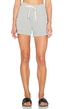 EVER Venice Patch Knit Short in Heather Grey