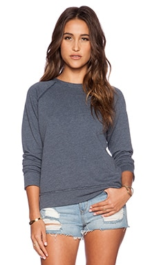 EVER Cameron Crew Neck Raglan in Pacific Blue