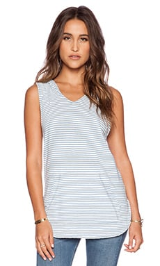 EVER Natalie Hoodie Tank in White Stripe