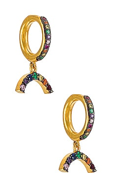 Rainbow Charm Midi Hoops Eye M by Ileana Makri $86