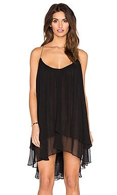 FADDOUL Echo Gather Mini Dress in Noir