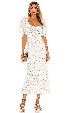 Gianna Midi Dress FAITHFULL THE BRAND $309 NEW