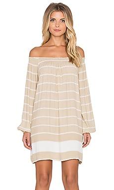 FAITHFULL THE BRAND Rambler Americana Stripe Dress in Taupe & White