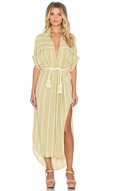 FAITHFULL THE BRAND Gigi Americana Stripe Shirt Dress in Taupe & White