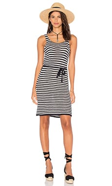 FAITHFULL THE BRAND Mykonos Knit Dress in Stripe Navy & Off White