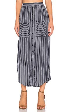 FAITHFULL THE BRAND Audrey Macgraw Stripe Maxi Skirt in Navy & White
