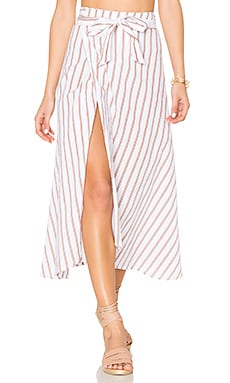 Caribe Wrap Skirt in Natural Bay Stripe Print