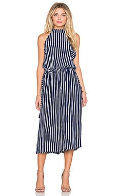 FAITHFULL THE BRAND Fleetwood Story Stripe Jumpsuit in Navy & White