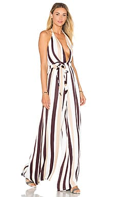 FAITHFULL THE BRAND Riley Jumpsuit in Melrose Stripe Burgundy