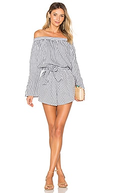 Bisque Playsuit in Charcoal Cove Stripe Print