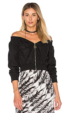 Raven Off the Shoulder Wrap Bomber