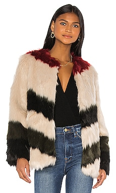 Mixed Faux Fur Coat FRAME $650
