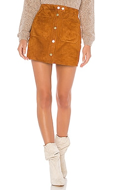 Patch Pocket Suede Skirt FRAME $525