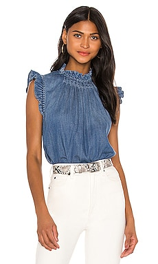 Ruffle Denim Sleeveless Top FRAME $245 BEST SELLER