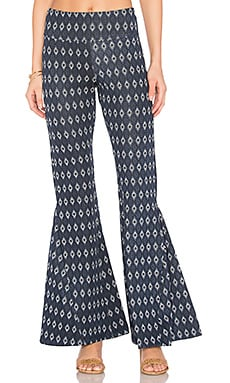 Flare Pant in Navy Jacquard