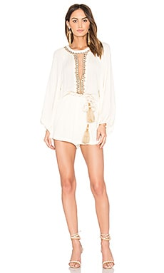 Embroidered Romper in Off White