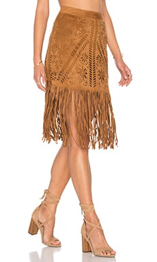 Fringe Laser Cut Skirt in Suede