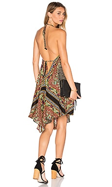 FARM Halter Dress in Camel Black