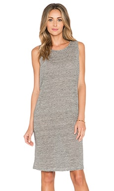 FRAME Denim Le Drape Dress in Noir Stripe