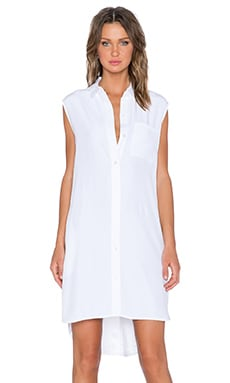 FRAME Denim Le Sleeveless Shirt Dress in Blanc