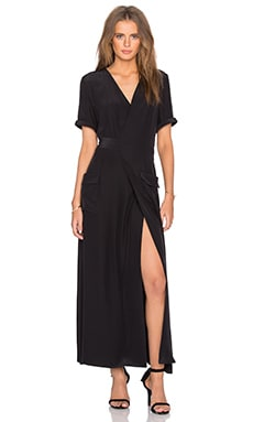FRAME Denim Le Wrap Tie Dress in Noir