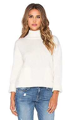 FRAME Denim Le Crop Patch Pocket Sweater in Off White