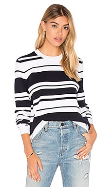 FRAME Denim Le Sculpture Long Sleeve Sweater in Navy & Black Stripe