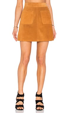 FRAME Denim Suede Skirt in Tobacco