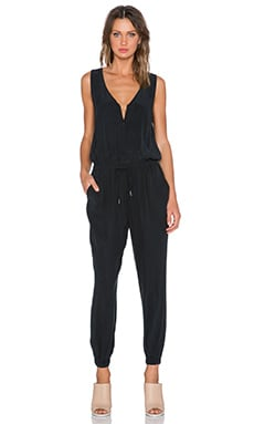 FRAME Denim Le Zip Jumpsuit in Noir