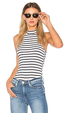Mock Neck Tank in Navy & Blanc Nautical Stripe