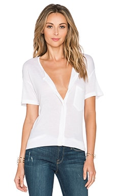 FRAME Denim Le Button Down Tee in Blanc
