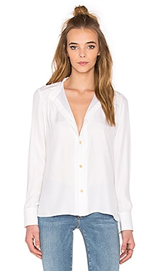 FRAME Denim Le Pleated Blouse in Blanc
