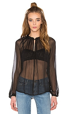 FRAME Denim Le Peasant Blouse in Noir Polka Dot
